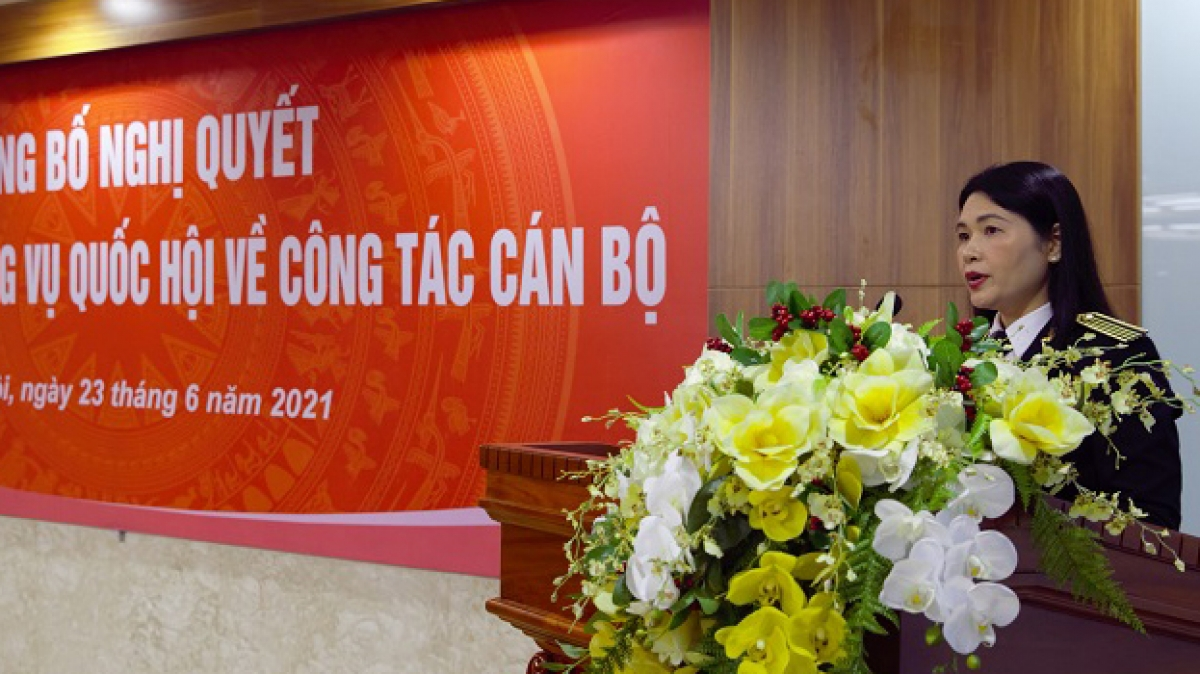 Phó Tổng Kiểm toán Nhà nước Hà Thị Mỹ Dung phát biểu tại buổi lễ (Ảnh: Cổng TTĐT KTNN)