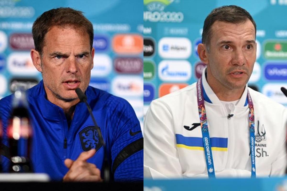 HLV Frank de Boer của Hà Lan và HLV Andriy Shevchenko của Ukraine. (Ảnh: Getty)
