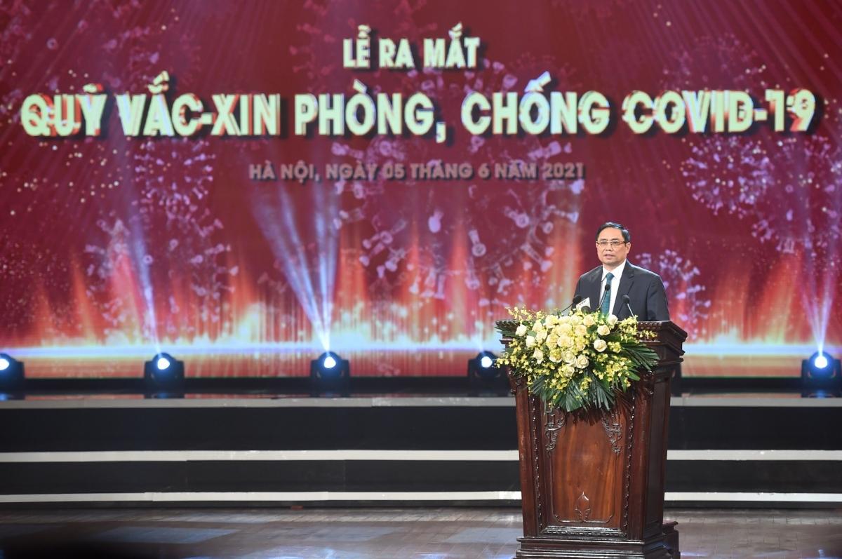 Thủ tướng Phạm Minh Chính phát biểu tại lễ ra mắt Quỹ vaccine phòng, chống Covid-19.