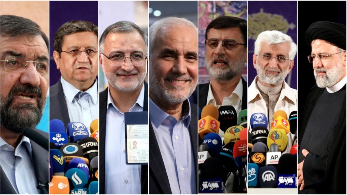 7 ứng cử viên bầu cử Tổng thống Iran tranh luận trước thềm bầu cử. Ảnh: AP