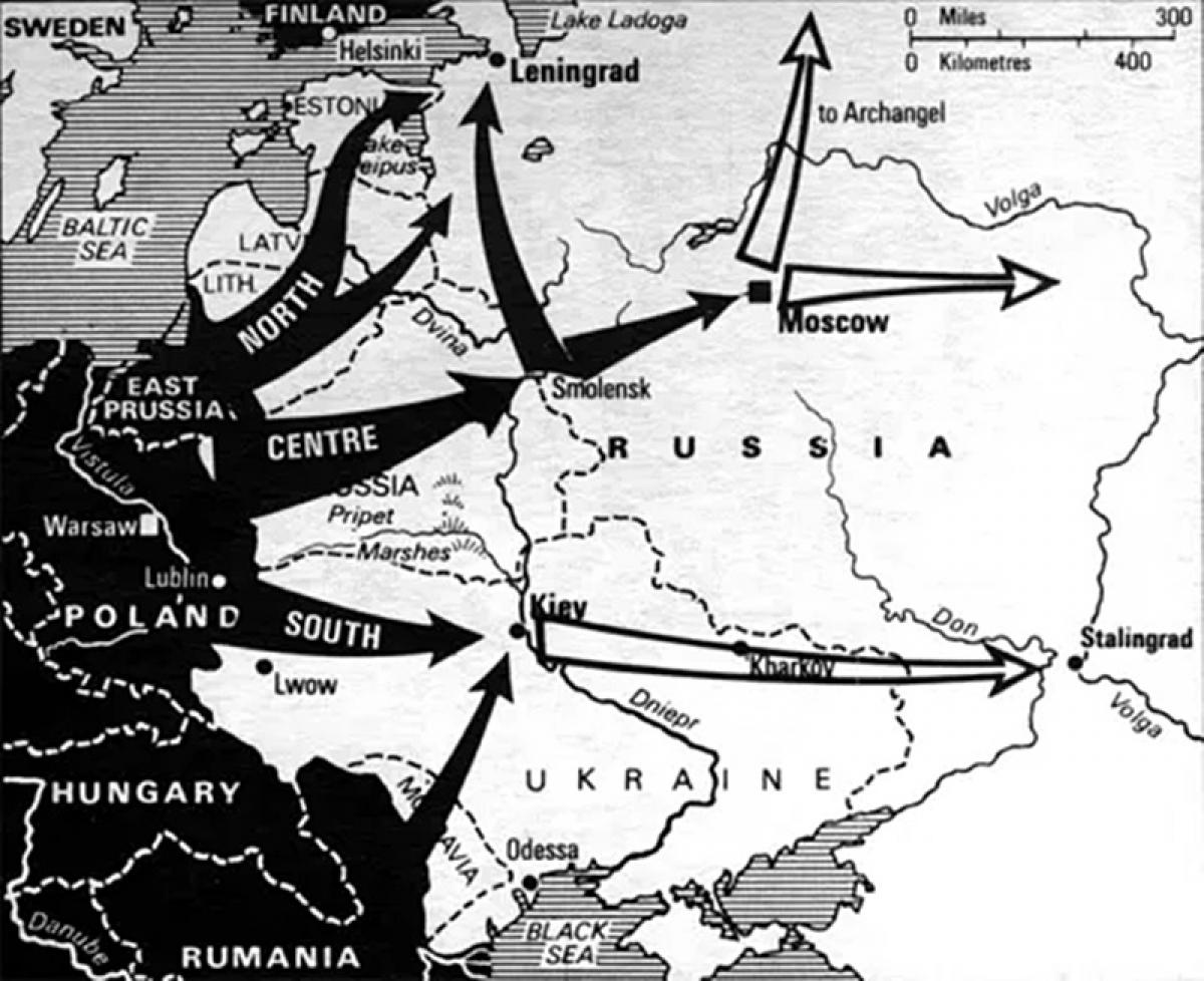 Kế hoạch Barbarossa (bản lược hóa) - Đức xâm lược Liên Xô vào năm 1941. Ảnh: Military-History.