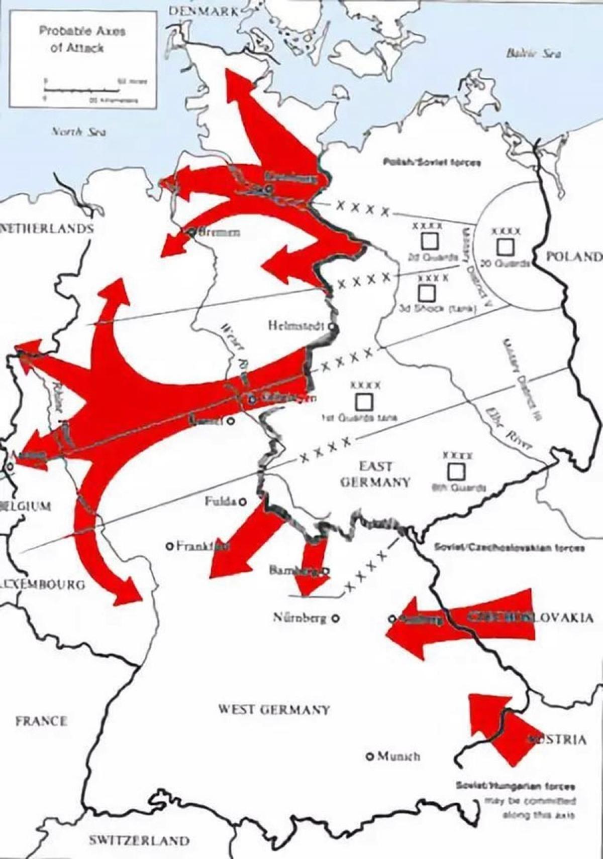 Kế hoạch của Liên Xô tấn công NATO. Ảnh: Public domain,