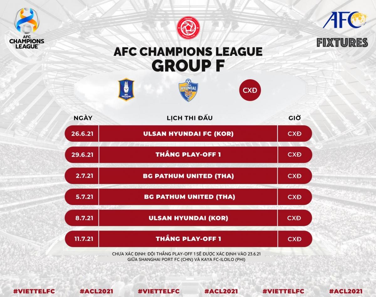 Lịch thi đấu của Viettel ở vòng bảng AFC Champions League
