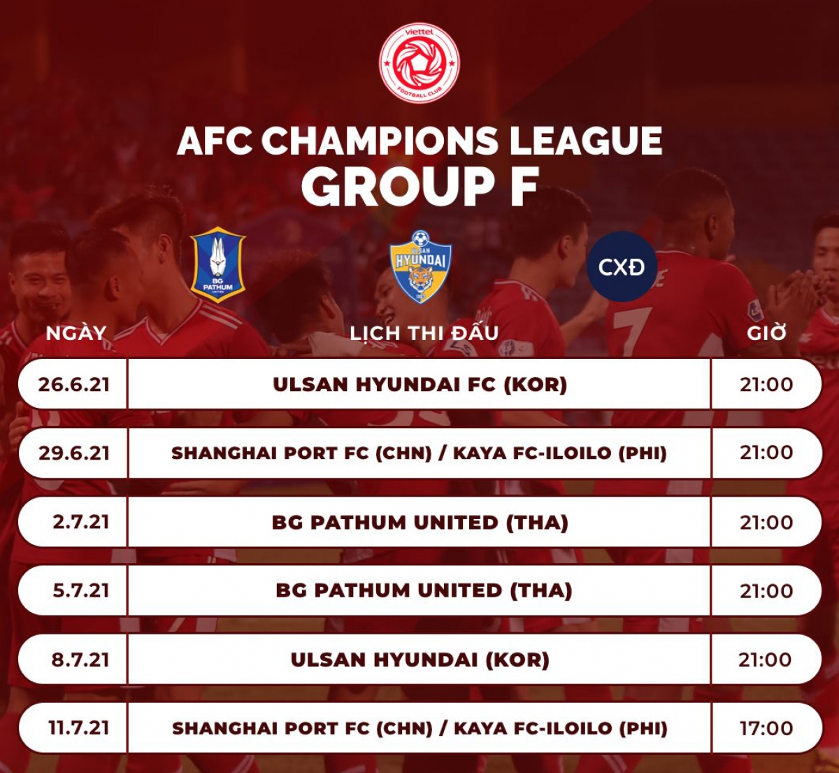 Lịch thi đấu của Viettel ở AFC Champions League 2021.