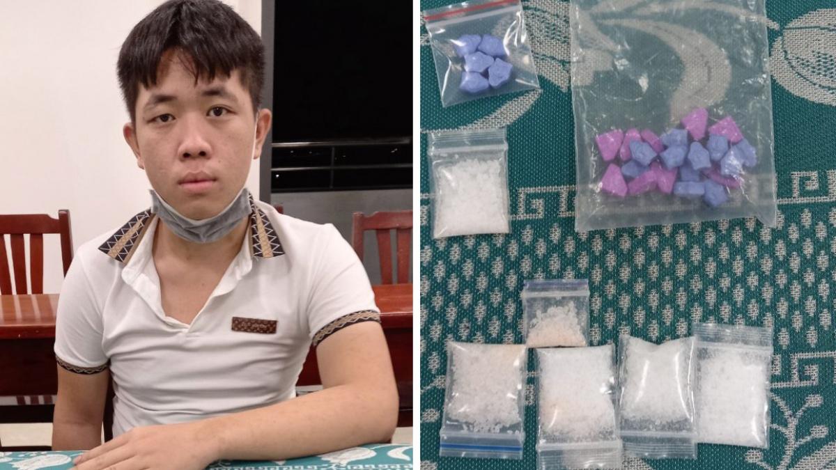 Đối tượng Trịnh Minh Đức cùng tang vật tại cơ quan điều tra.