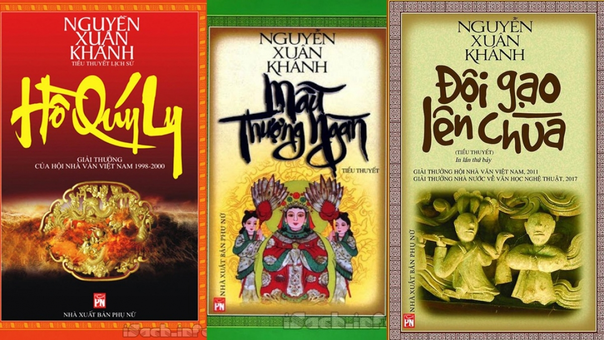 """Bộ 3 tiểu thuyết đồ sộ của ông: """"Hồ Quý Ly"""", """"Mẫu Thượng ngàn"""" và """"Đội gạo lên chùa""""."""