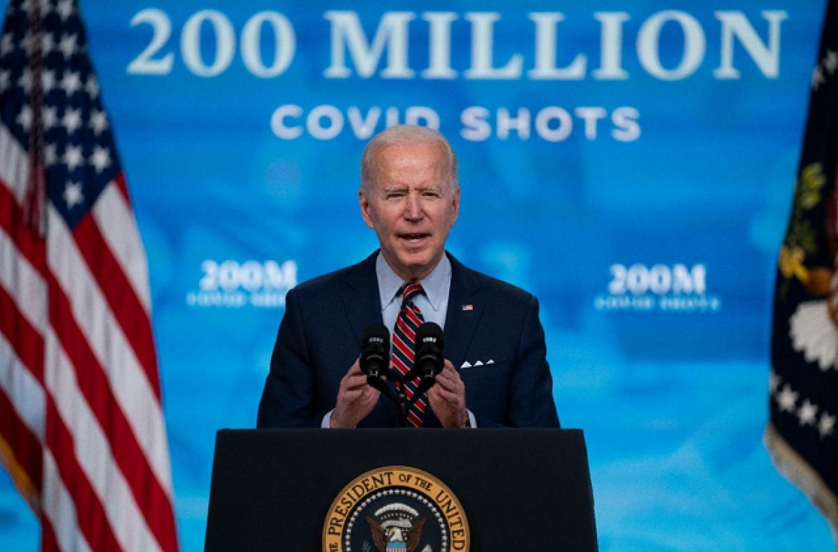 Tổng thống Joe Biden trong một cuộc họp báo về việc tiêm chủng Covid-19 tại Nhà Trắng, tháng 4/2021. Ảnh: AP