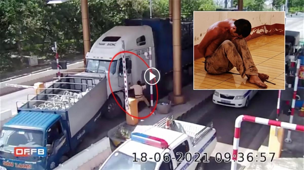Hình ảnh tài xế nghiện ma túy không chấp hành hiệu lệnh của CSGT, điều khiển xe đầu kéo bỏ chạy rồi gây tai nạn trên Quốc lộ 1 ở Sóc Trăng ngày 18/6 vừa qua. Ảnh cắt từ clip.