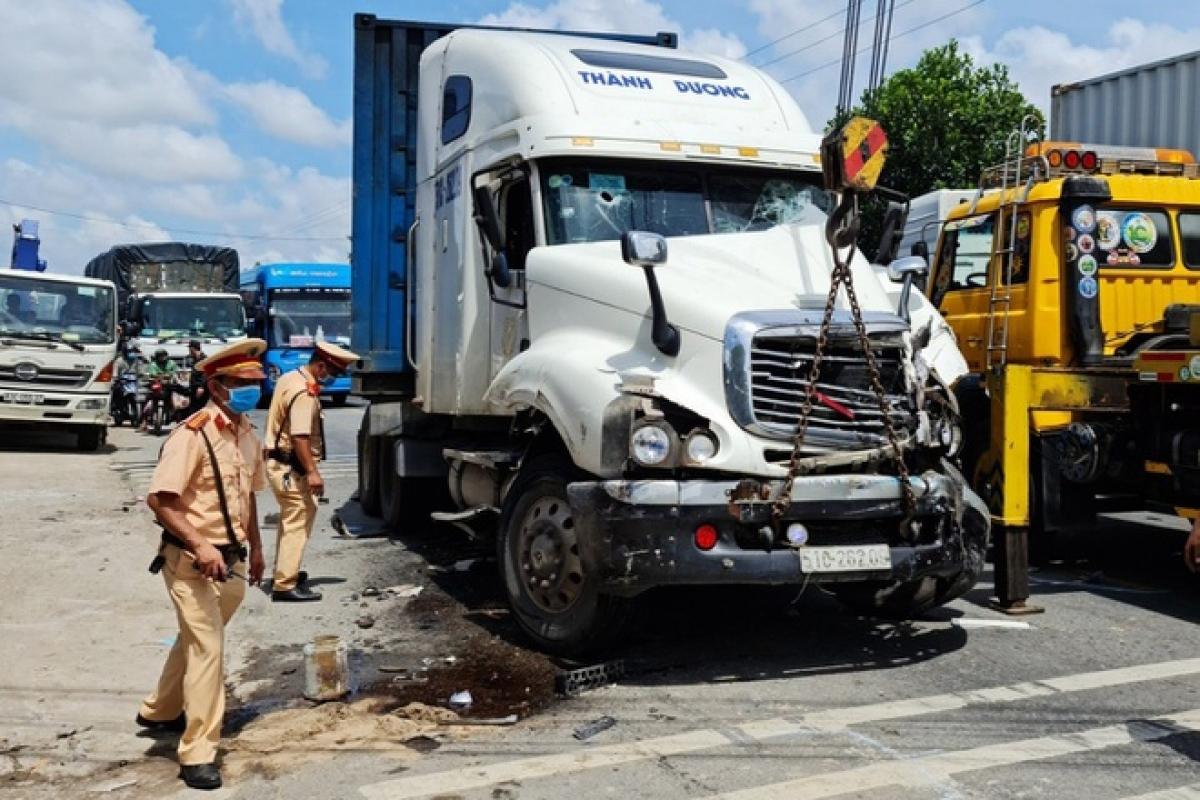 Chiếc xe Container gây náo loạn trên đường bị bắt giữ sau đó.