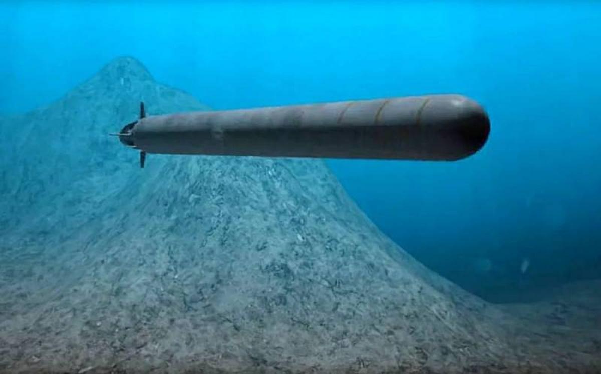 Đồ họa ngư lôi hạt nhân Poseidon của Nga. Ảnh: TASS.