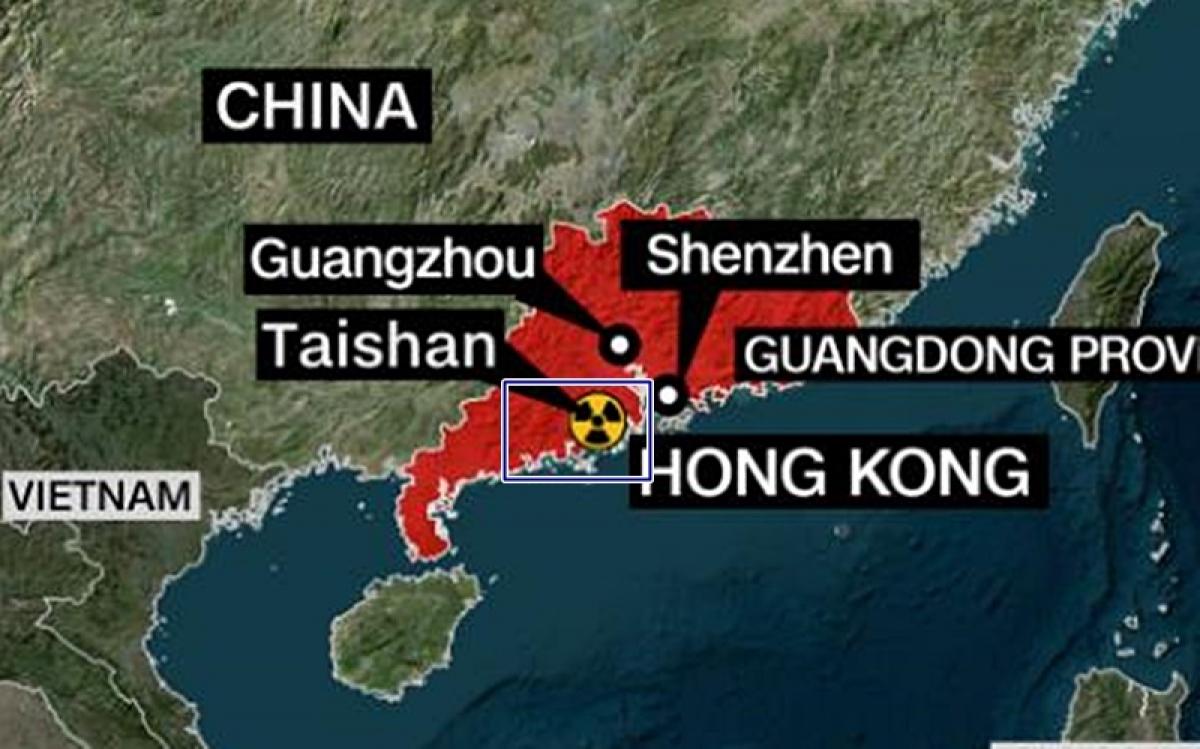 Vị trí của nhà máy hạt nhân Đài Sơn (khung xanh) trên bản đồ. Có thể thấy nhà máy nằm ở tỉnh Quảng Đông cách không xa biên giới Việt Nam. Ảnh: CNN.
