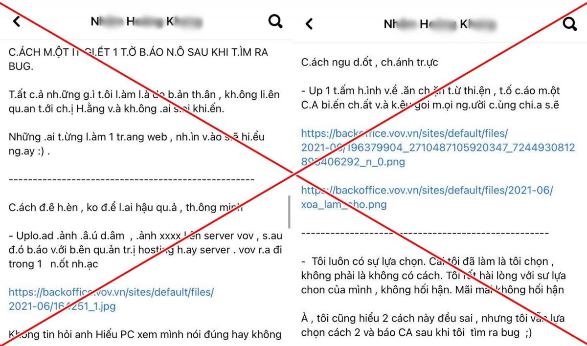 Trên trang Facebook của N.H.K xuất hiện bài viết hướng dẫn cách tấn công Báo Điện tử VOV