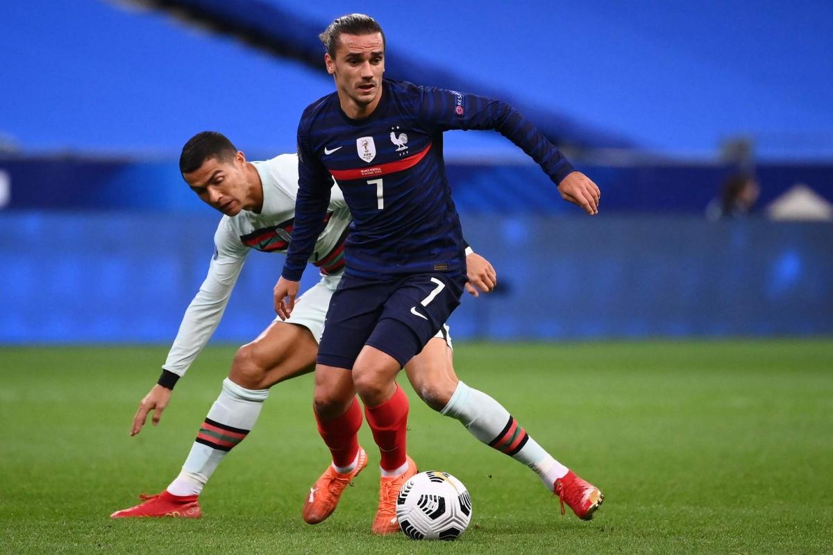 Pháp từng biến Bồ Đào Nha thành cựu vương khi hai đội chung bảng ở UEFA Nations League hồi cuối năm ngoái. (Ảnh: Getty)