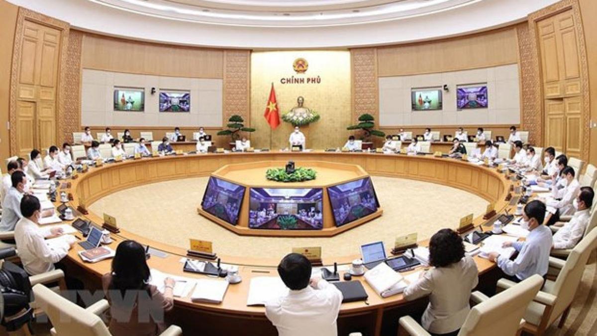 Quang cảnh Phiên họp Chính phủ thường kỳ tháng 5. (Ảnh: TTXVN)