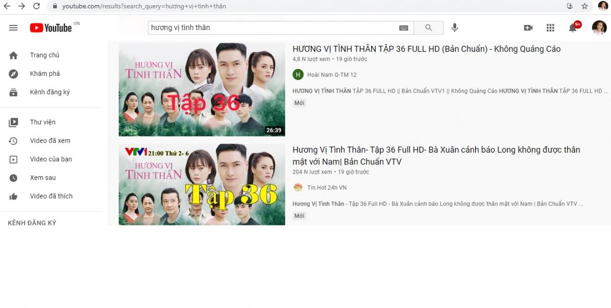 """Chỉ cần lên youtube gõ từ khóa """"Hương vị tình thân"""" sẽ ra hàng trăm đường link vi phạm bản quyền phim."""