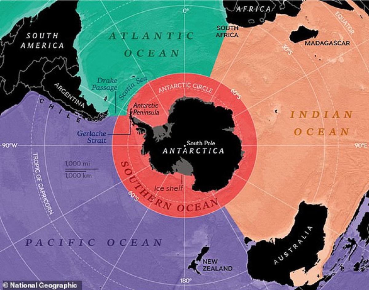 Vị trí của Nam Đại Dương (màu đỏ cam) trên bản đồ. Ảnh: National Geographic