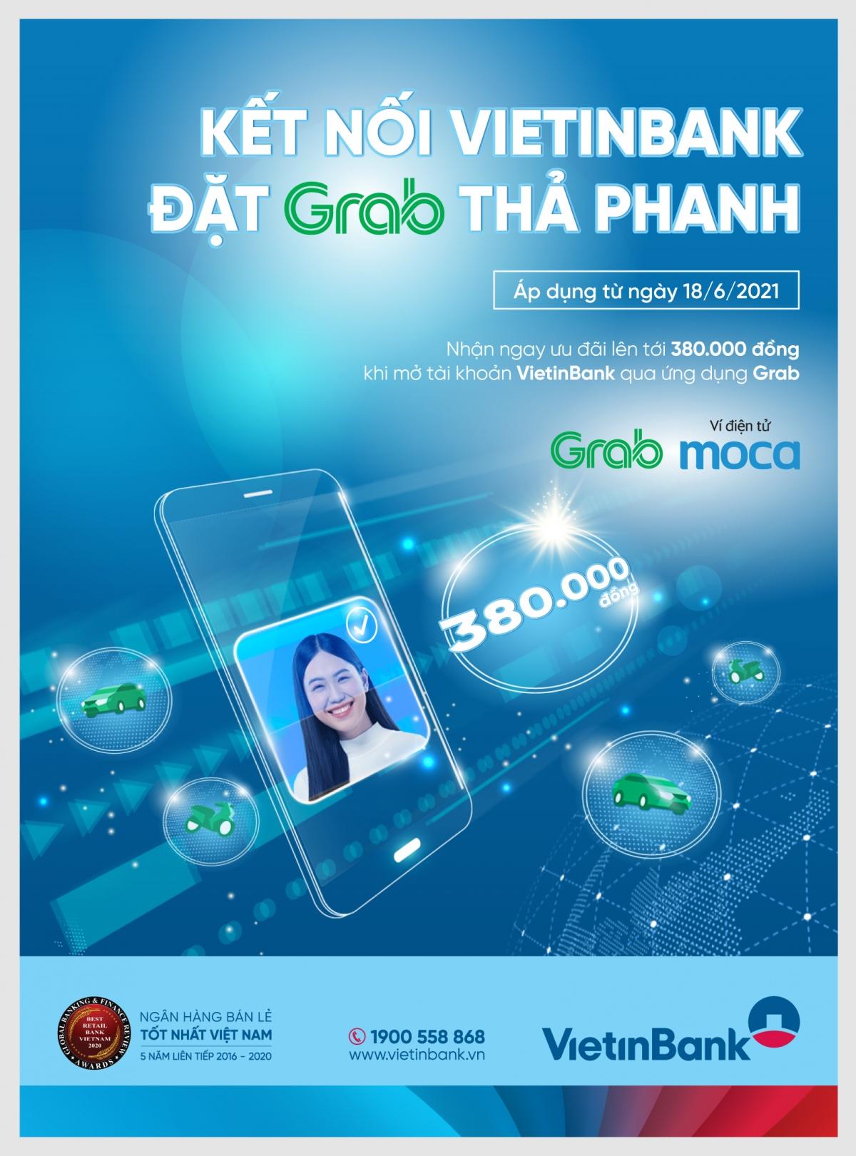 Nhiều ưu đãi cho khách hàng mở thẻ Vietinbank qua ứng dụng Grab.