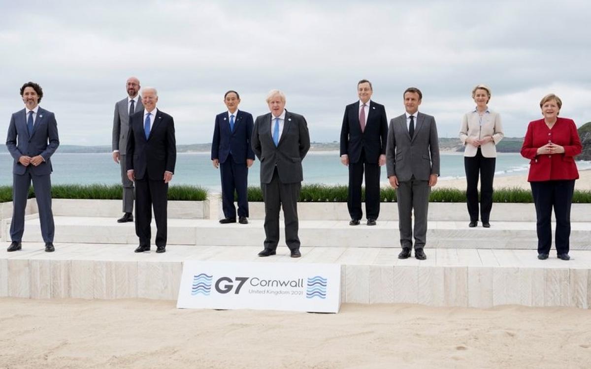 Các nhà lãnh đạo thế giới có mặt tại Hội nghị G7 tổ chức ở Anh năm 2021. Ảnh: Reuters.