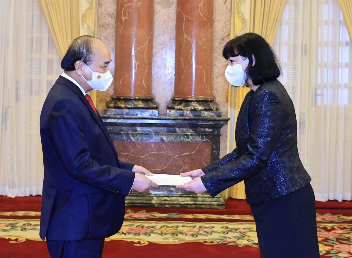 Chủ tịch nước Nguyễn Xuân Phúc tiếp Đại sứ Romania, bà Cristiana Romila.