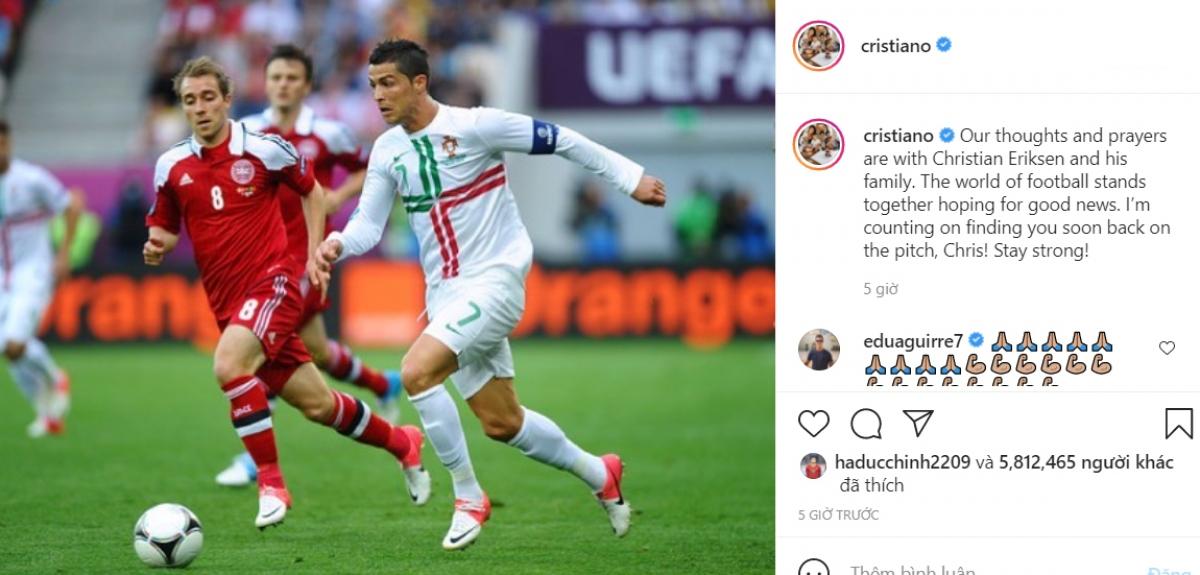 Ronaldo cầu nguyện cho Eriksen.