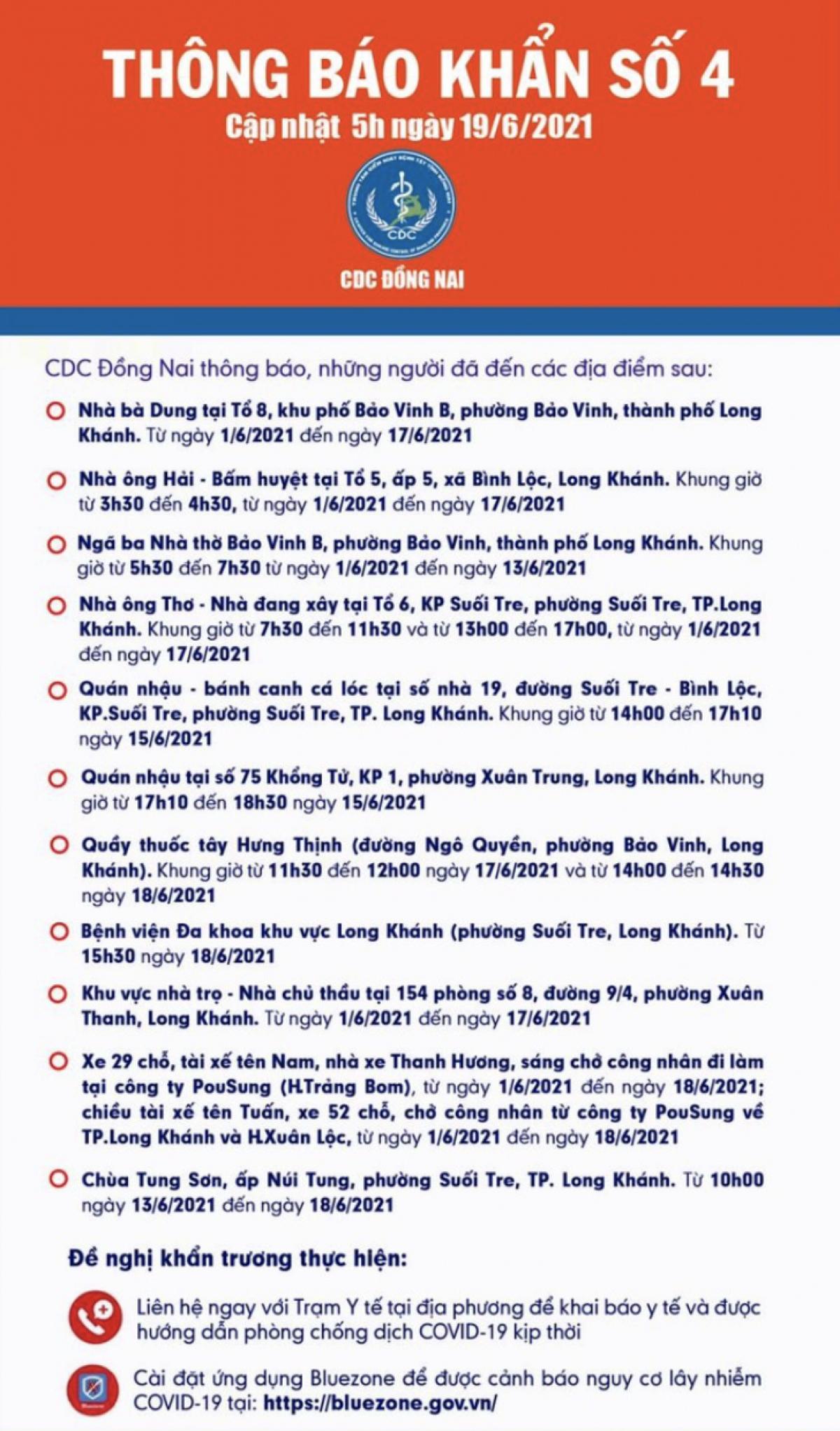 CDC tỉnh Đồng Nai thông báo những người có tiếp xúc các ca bệnh khẩn trương khai báo y tế.