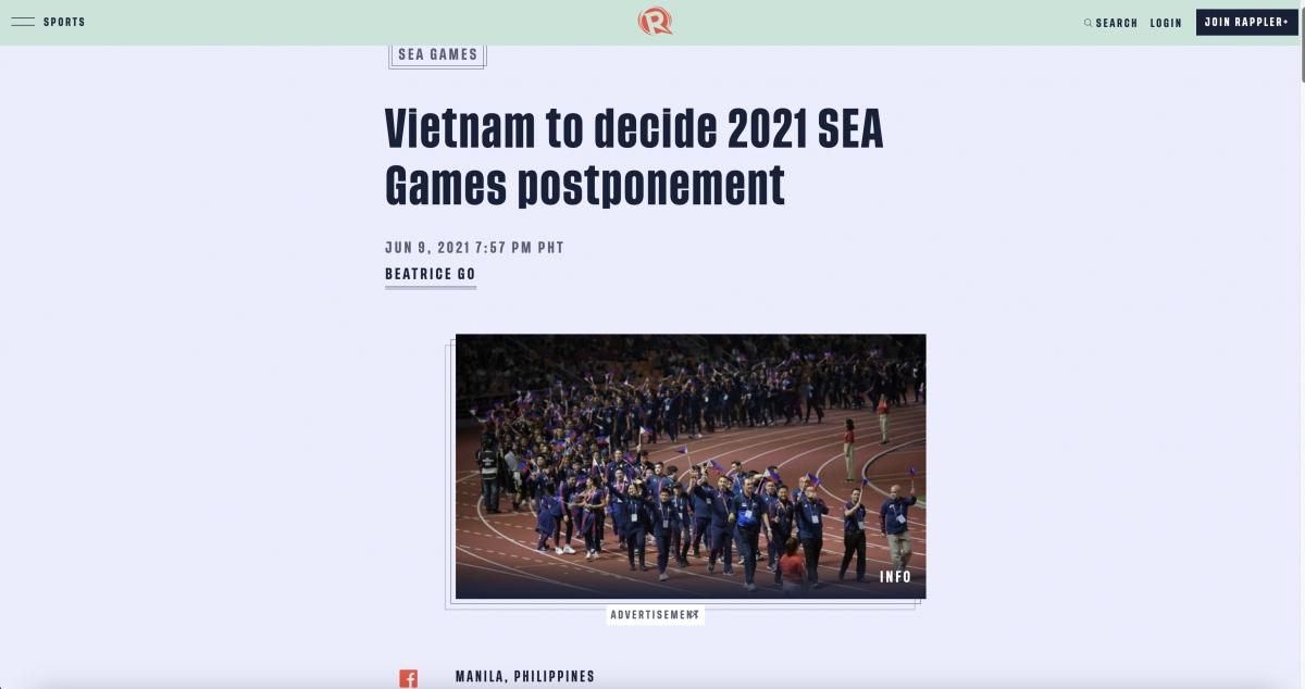 Ủy ban Olympic Philippines cho rằng việc Việt Nam hoãn tổ chức SEA Games 31 sang năm 2022 là bất công với các vận động viên.