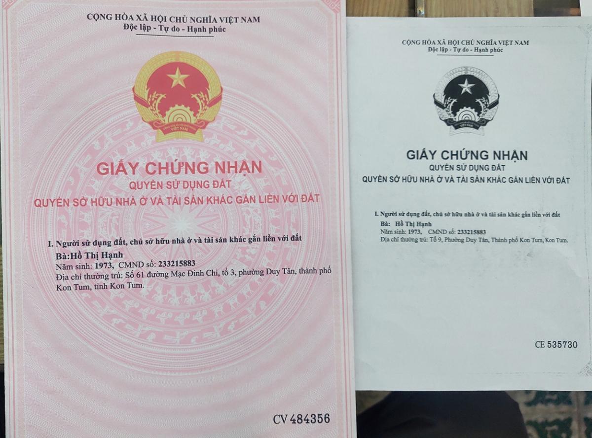 Giấy chứng nhận giả bị Phòng công chứng ở thành phố Kon Tum phát hiện.