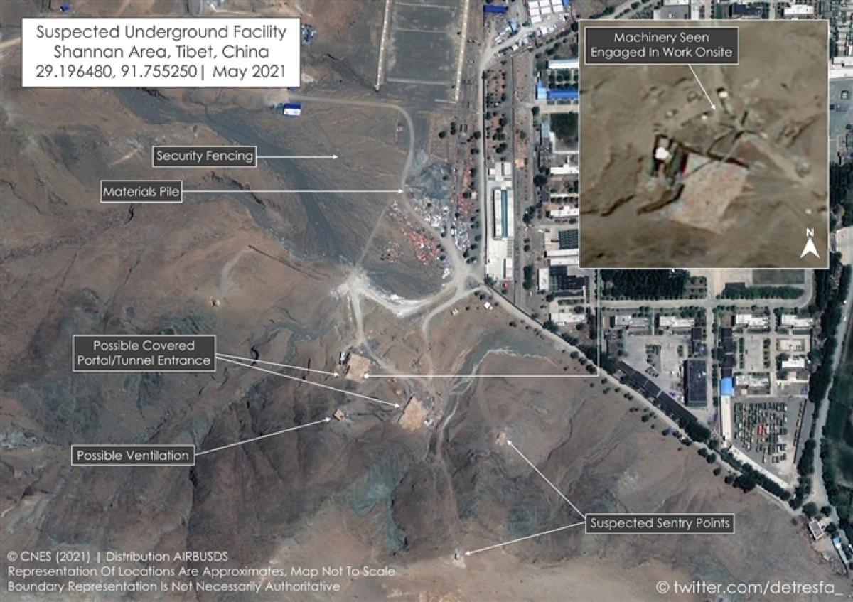 Trung Quốc cho xây dựng thêm một loạt các cơ sở ngầm gần vùng tránh chấp với Ấn Độ. Ảnh: @detresfa_