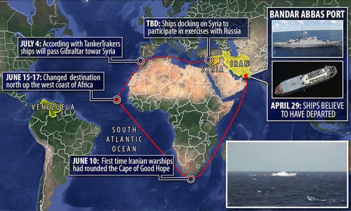 Tàu Iran đổi hướng ở Đại Tây Dương, di chuyển dọc bờ biển phía Tây châu Phi. Ảnh: Daily Mail