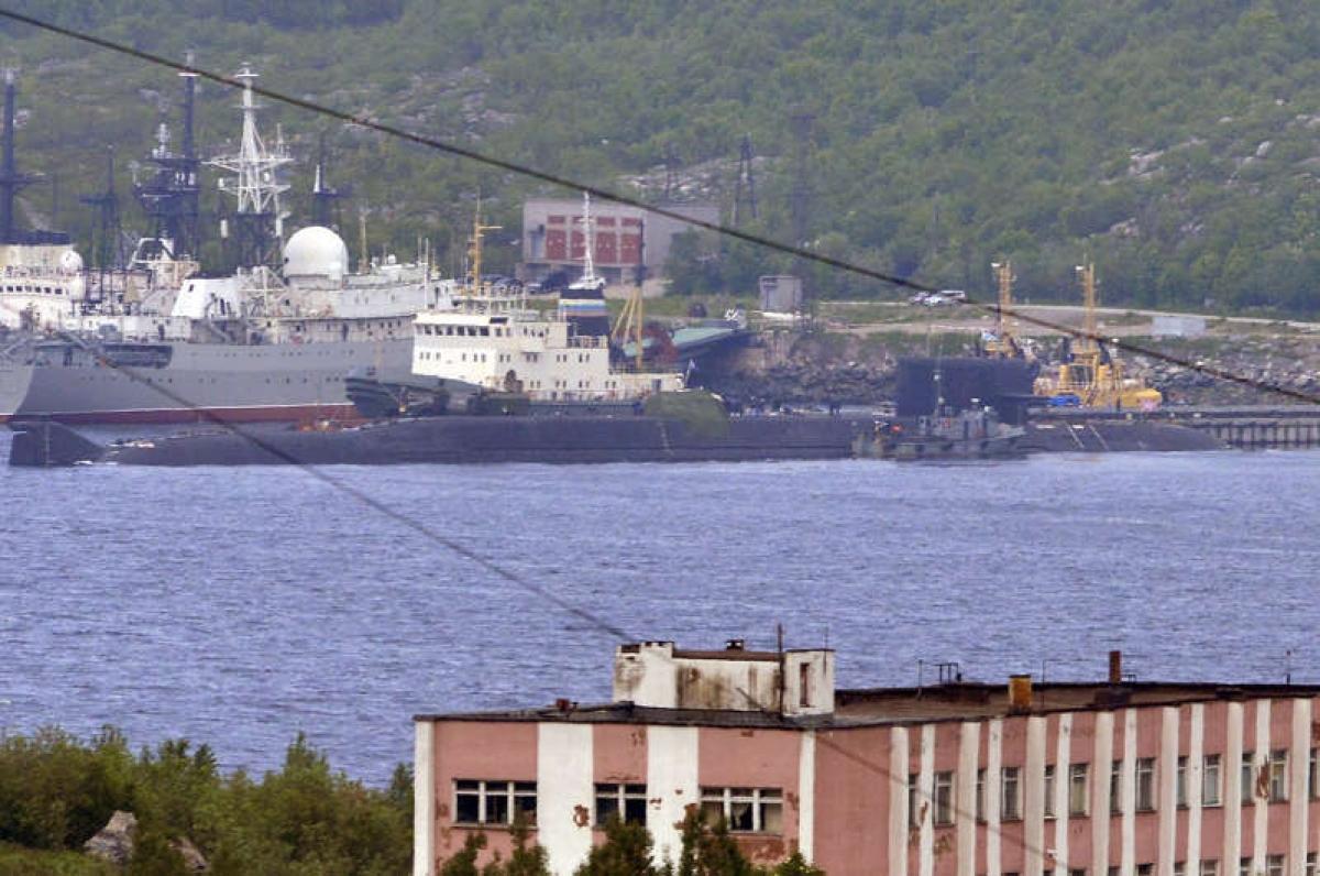 Tàu ngầm BS-64 Podmoskovye tại căn cứ của Hạm đội Phương Bắc ở Severmorsk ngày 3/7/2019. Ảnh: Getty