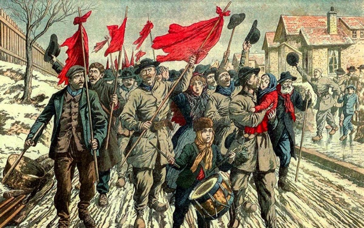 Thợ mỏ Pháp thời xưa nổi loạn, mang theo những lá cờ màu đỏ. Tranh: Le Petit Journal.