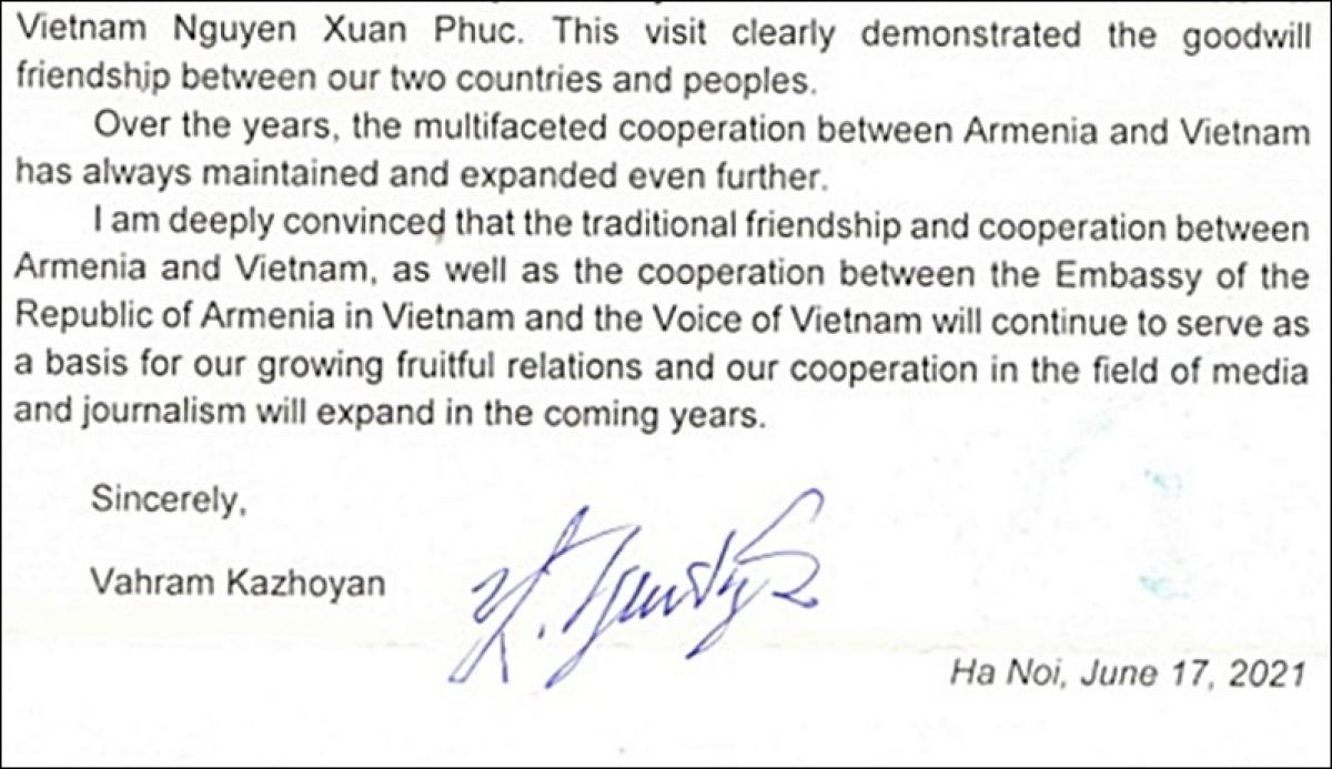 Ảnh chụp thư của Đại sứ Armenia Kazhoyan.