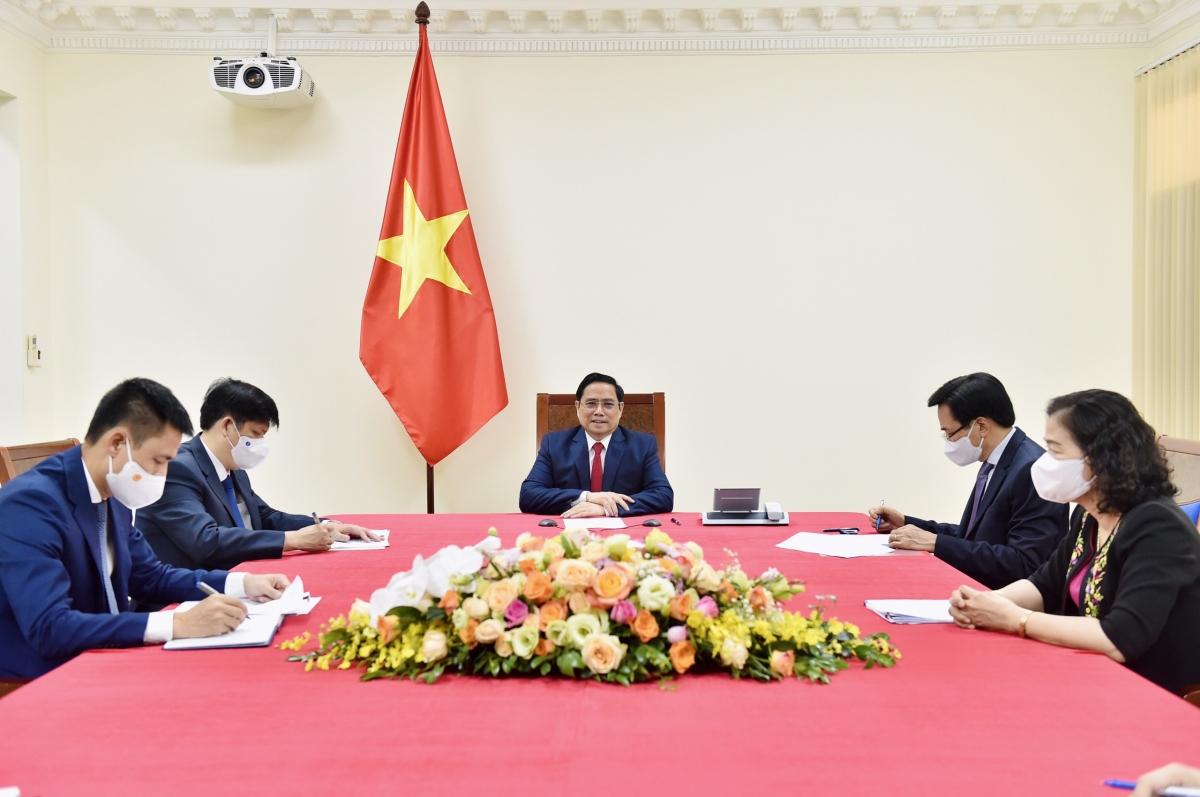 Thủ tướng Phạm Minh Chính điện đàm với Tổng Giám đốc Tổ chức Y tế thế giớiTedros Adhanom Ghebreyesus