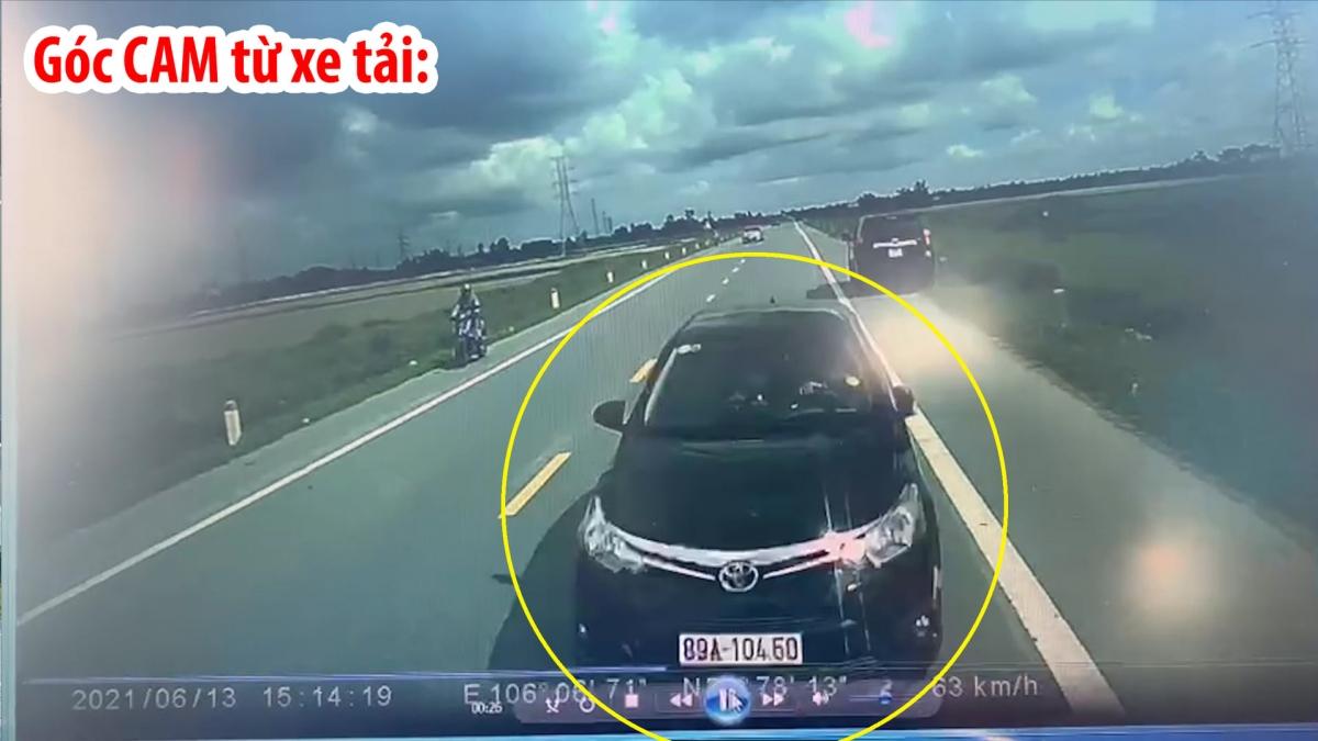 Hình ảnh từ camera xe tải cho thấy xe ô tô con lấn làn, đâm thẳng vào đầu xe tải.
