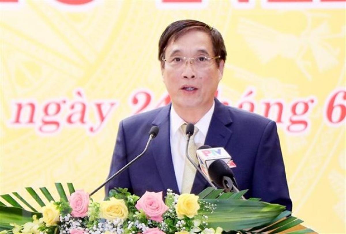 Ông Bùi Minh Châu được bầu giữ chức Chủ tịch HĐND tỉnh Phú Thọ khóa XIX, nhiệm kỳ 2021-2026. (Ảnh: Trung Kiên/TTXVN)