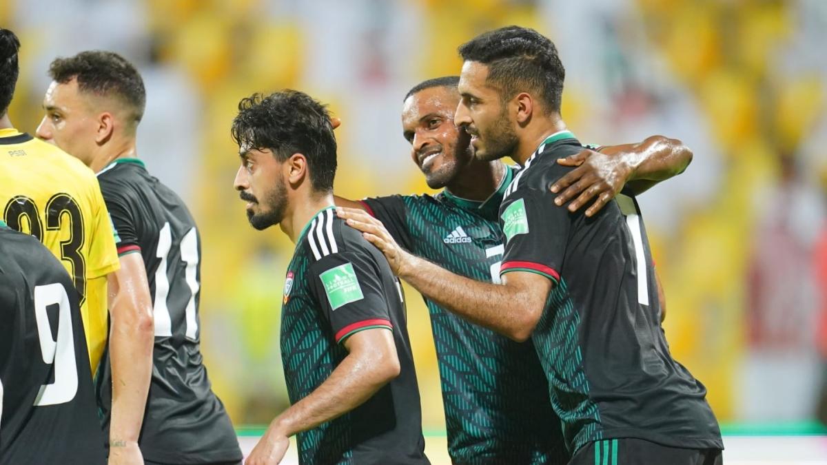 Hàng công UAE thể hiện sức mạnh đáng nể sau khi liên tiếp thắng đậm Malaysia, Thái Lan và Indonesia. (Ảnh: AFC)