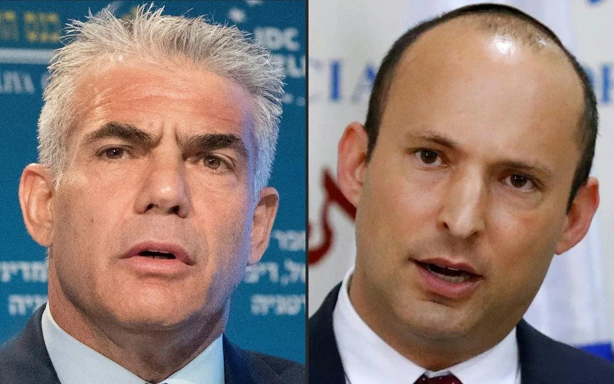Hai ứng viên Israel Lapid (trái) và Bennett dự kiến sẽ lần lượt làm thủ tướng Israel trong cùng một nhiệm kỳ. Ảnh: AFP.