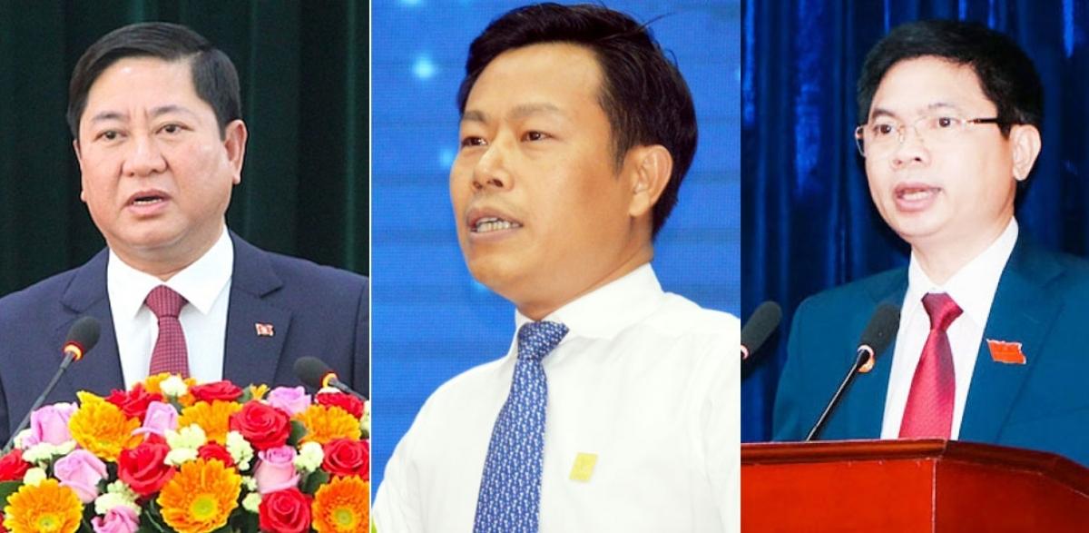 Phó Bí thư Tỉnh ủy, Chủ tịch UBND tỉnh Ninh Thuận Trần Quốc Nam; Chủ tịch UBND tỉnh Cà Mau Lê Quân; Phó Bí thư Tỉnh ủy, Chủ tịch UBND tỉnh Hà Nam Trương Quốc Huy (từ trái qua phải) trúng cử đại biểu Quốc hội khóa XV.