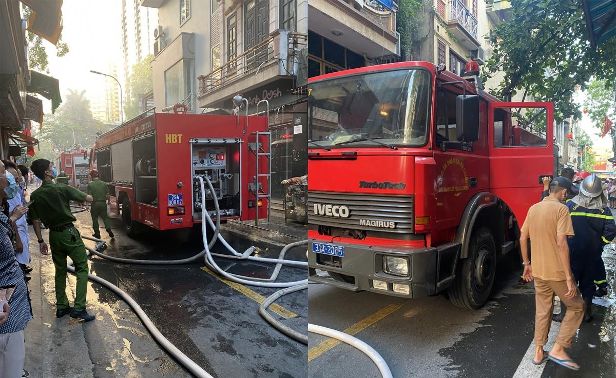 Lực lượng chức năng đã điều 2 xe chữa cháy cùng nhiều cán bộ chiến sĩ cảnh sát PCCC&CNCH đến dập lửa.