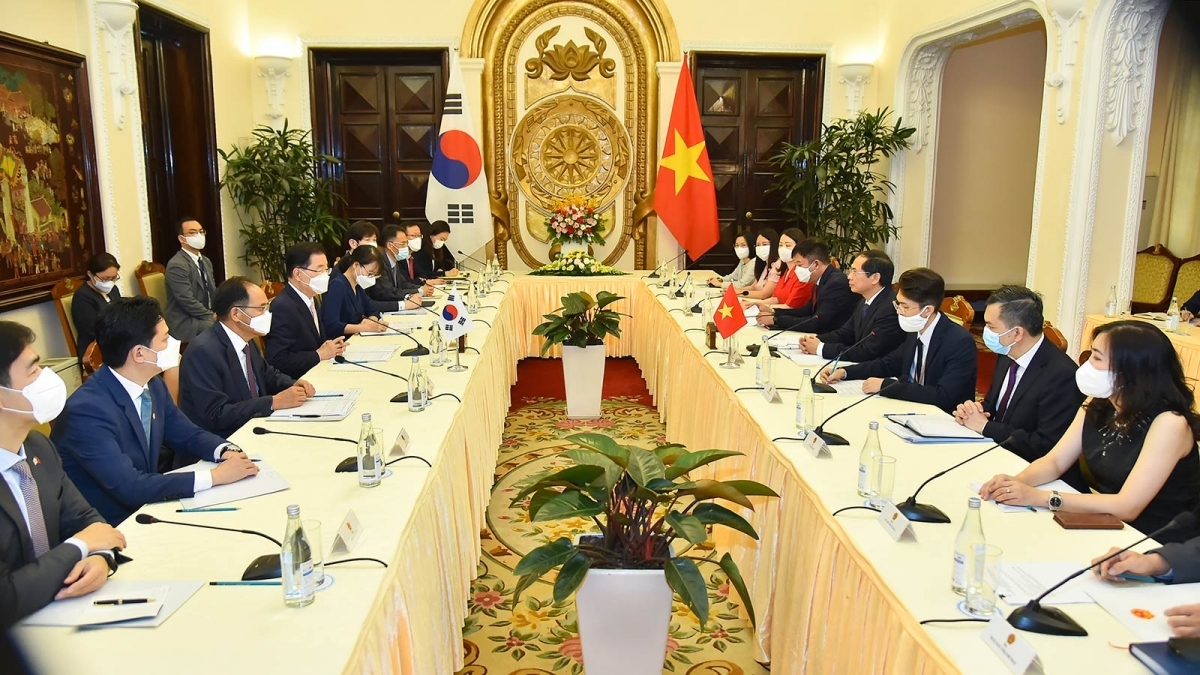 Foreign Minister Bui Thanh Son hold talks with RoK Foreign Minister Chung Eui-yong in Hanoi on June 23.
