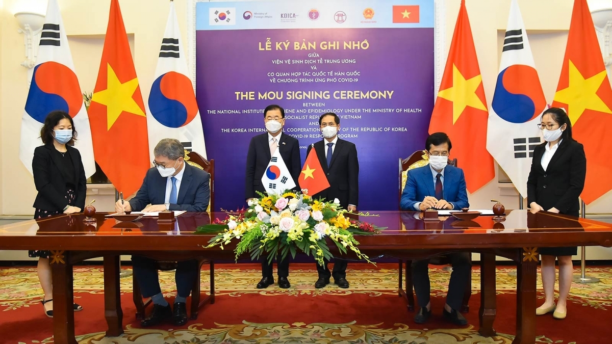 Vietnam and the RoK sign an MoU on COVID-19 response programme in Hanoi on June 23