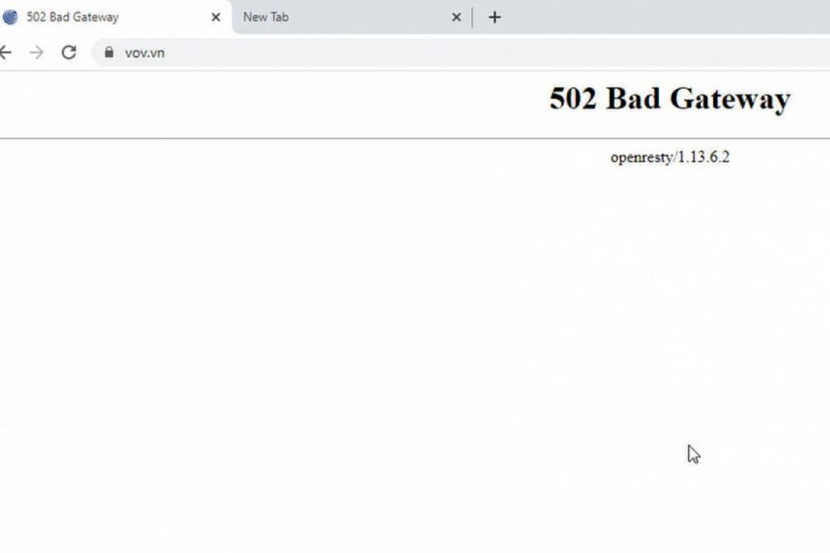 Thời điểm diễn ra tấn công mạng, độc giả không thể truy cập vào trang web của báo VOV. Ảnh: VOV