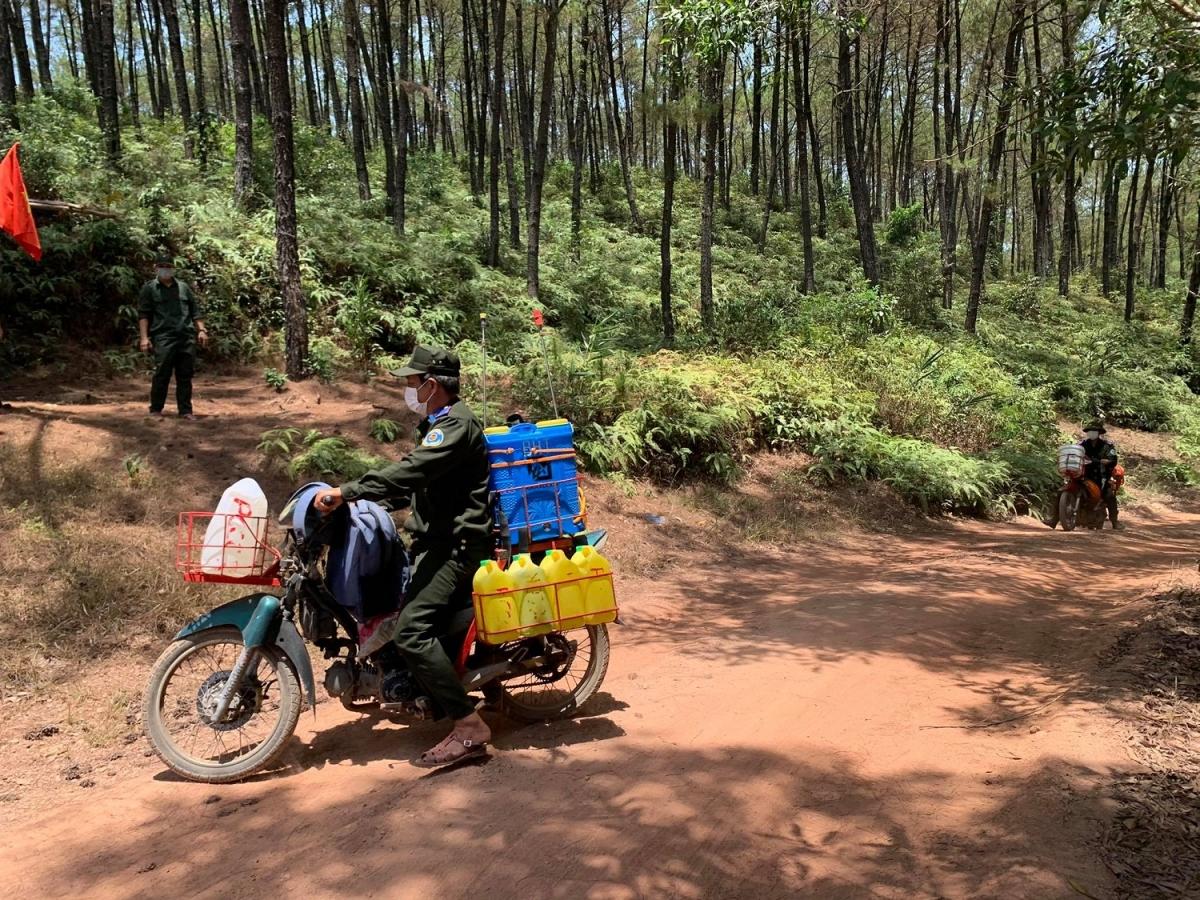 Lực lượng chuyên trách PCCR, BQL bảo vệ rừng Hương Thủy túc trực phòng chống cháy rừng.