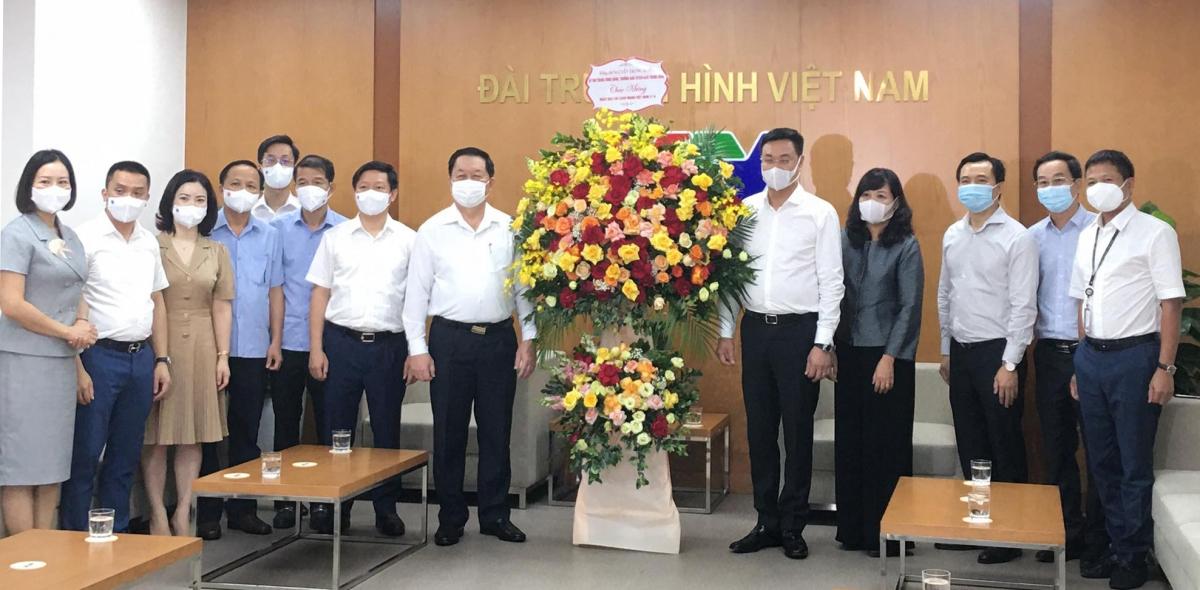 Trưởng Ban Tuyên giáo Trung ương Nguyễn Trọng Nghĩa đã đến thăm và chúc mừng Đài Truyền hình Việt Nam. Ảnh: Nguyên Nhung