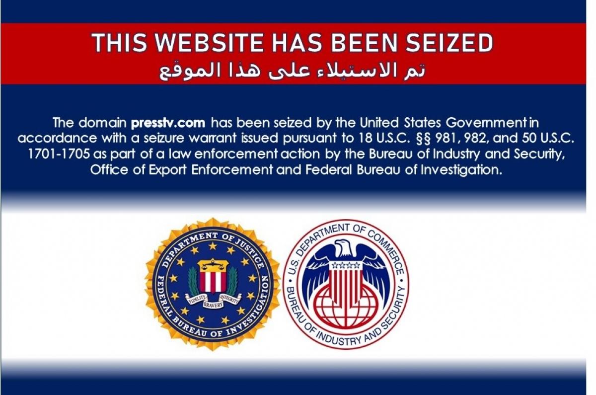 Trang web của Đài Press TV hiển thị thông tin bị Mỹ gỡ bỏ. Ảnh chụp màn hình.