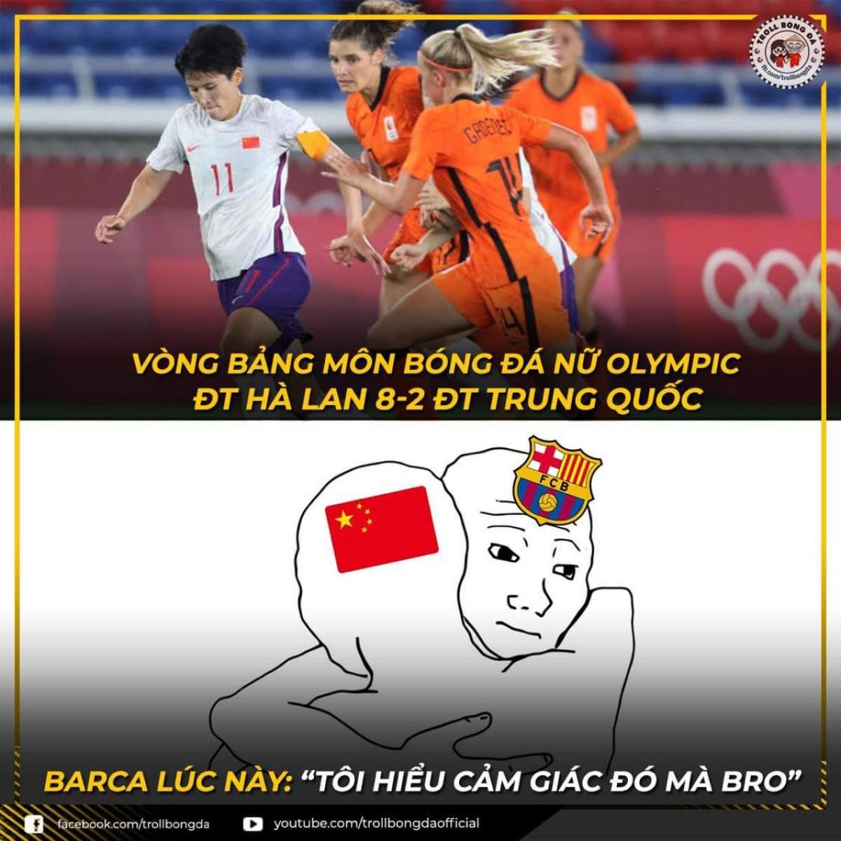 """ĐT nữ Trung Quốc chịu chung """"số phận"""" với Arsenal và Barca. (Ảnh: Troll bóng đá)."""