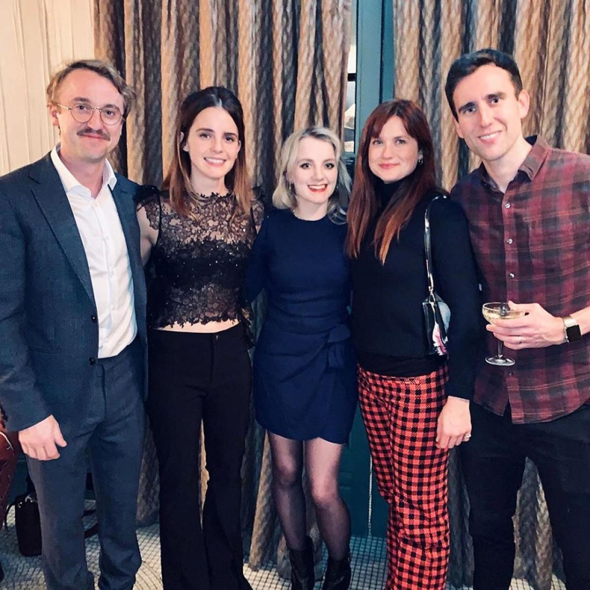 """Một dịp hội ngộ khá đông đủ của dàn diễn viên """"Harry Potter"""". Felton đăng bức ảnh chụp chung vớiLewis, Wright, Lynch và Watson vào tháng 12/2019."""