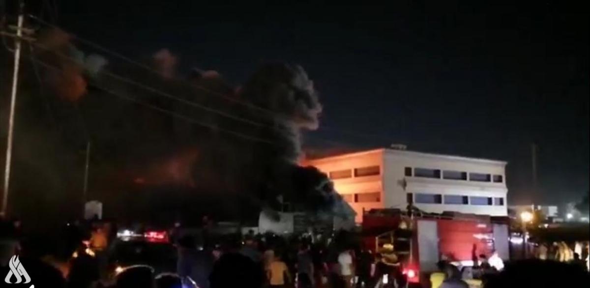 Hiện trường đám cháy ở bệnh viện Imam Hussein. Nguồn: INA