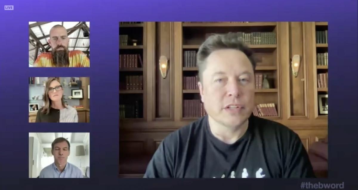 Elon Musk phát biểu tại hội nghị trực tuyến về tiền ảo The B-Word.