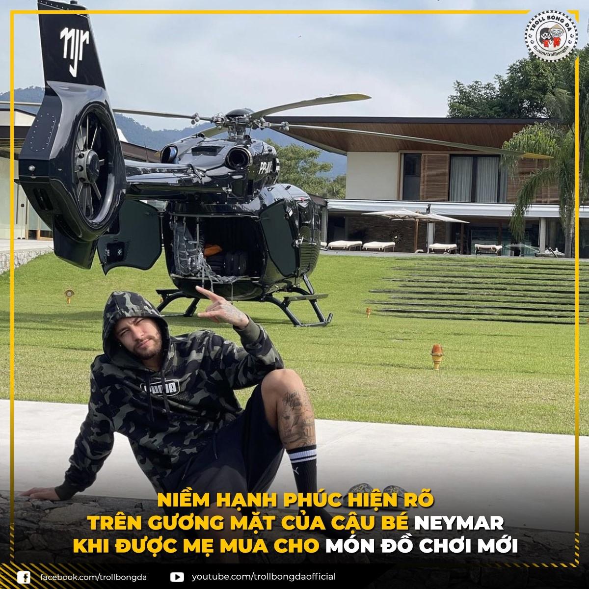 Neymar vừa mua được máy bay cá nhân. (Ảnh: Troll bóng đá).